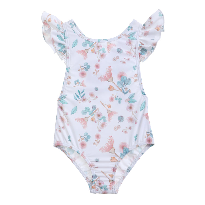 Willow Swim Gracie girls swimsuit in gumnuts front view