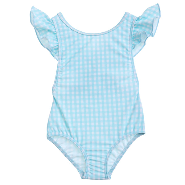 Willow Swim Gracie girls swimsuit in Minty Gingham front view