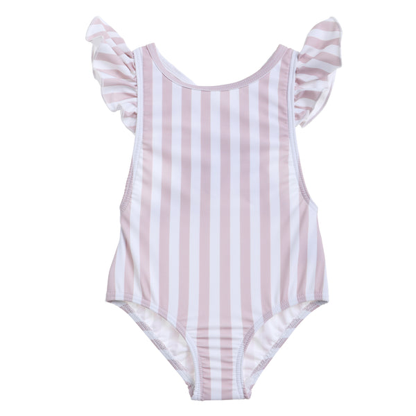 Willow Swim Gracie girls swimsuit in Earthy Stripe front view