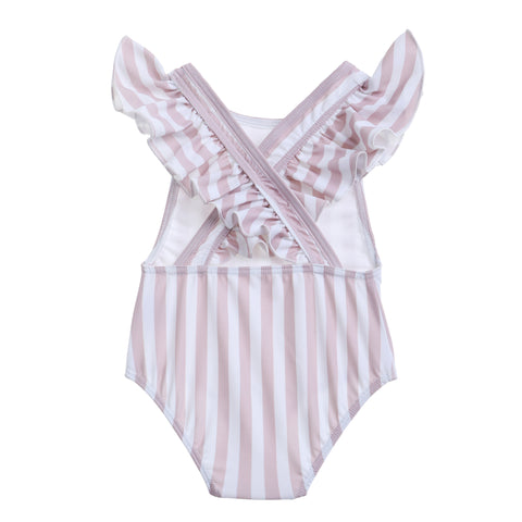 Willow Swim Gracie girls swimsuit in Earthy Stripe