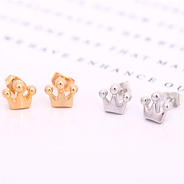 Tiny Crown Earrings (Gold or Silver)