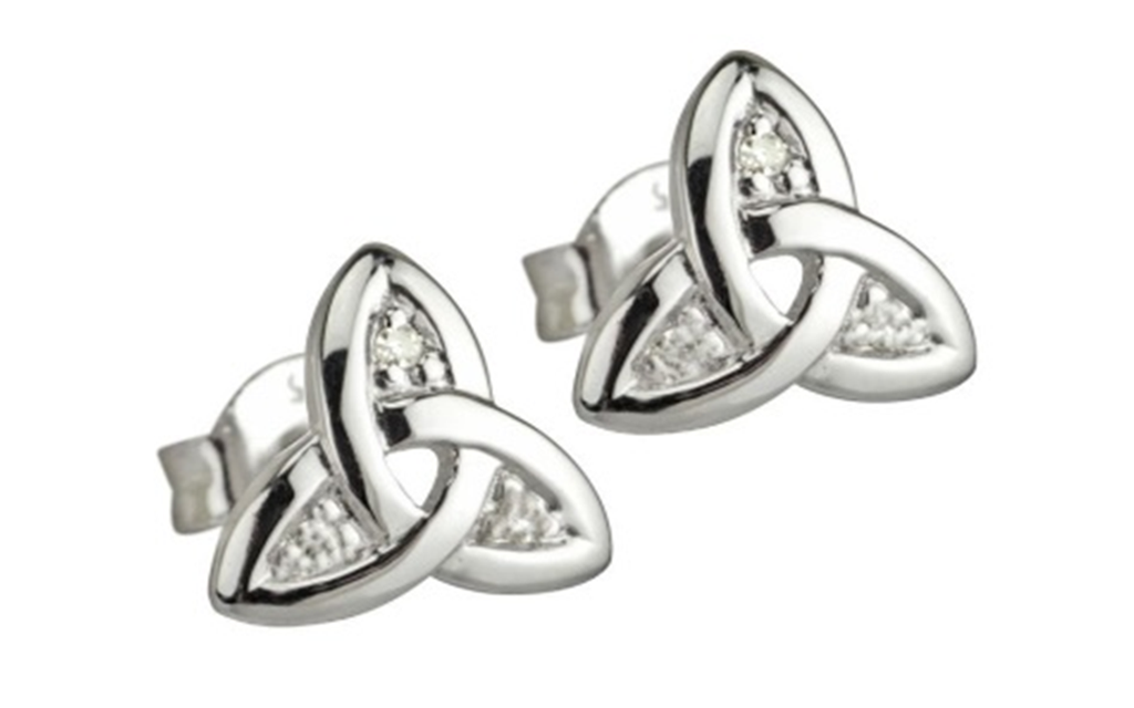 18k White gold Celtic Earrings