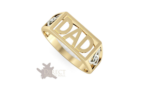 9ct REAL GOLD GENUINE White DIAMOND Celtic Knot DAD Ring Father Gift Full Size