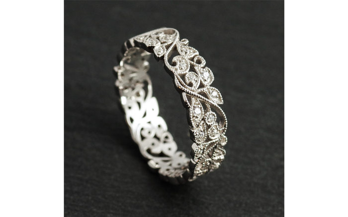 5mm 9ct Real White GOLD Created DIAMOND Handmade Leaf Eternity Wedding Band Ring