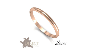 2mm 9ct Solid Real Rose Gold D Shaped Medium Plain Wedding Band Ring Full Size