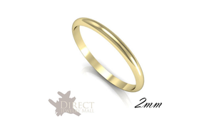 2mm 9ct Solid Real Yellow Gold D Shaped Medium Plain Wedding Band Ring Full Size