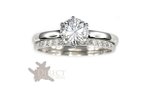 9ct White GOLD Created DIAMOND Solitaire ENGAGEMENT Ring Bridal Set Full SZ H-V