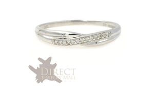 3mm 9ct REAL White GOLD 0.05ct GENUINE DIAMOND Twist Wedding Ring Full Size H-Z