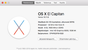 "Macbook air 13"" alkuvuosi 2015"