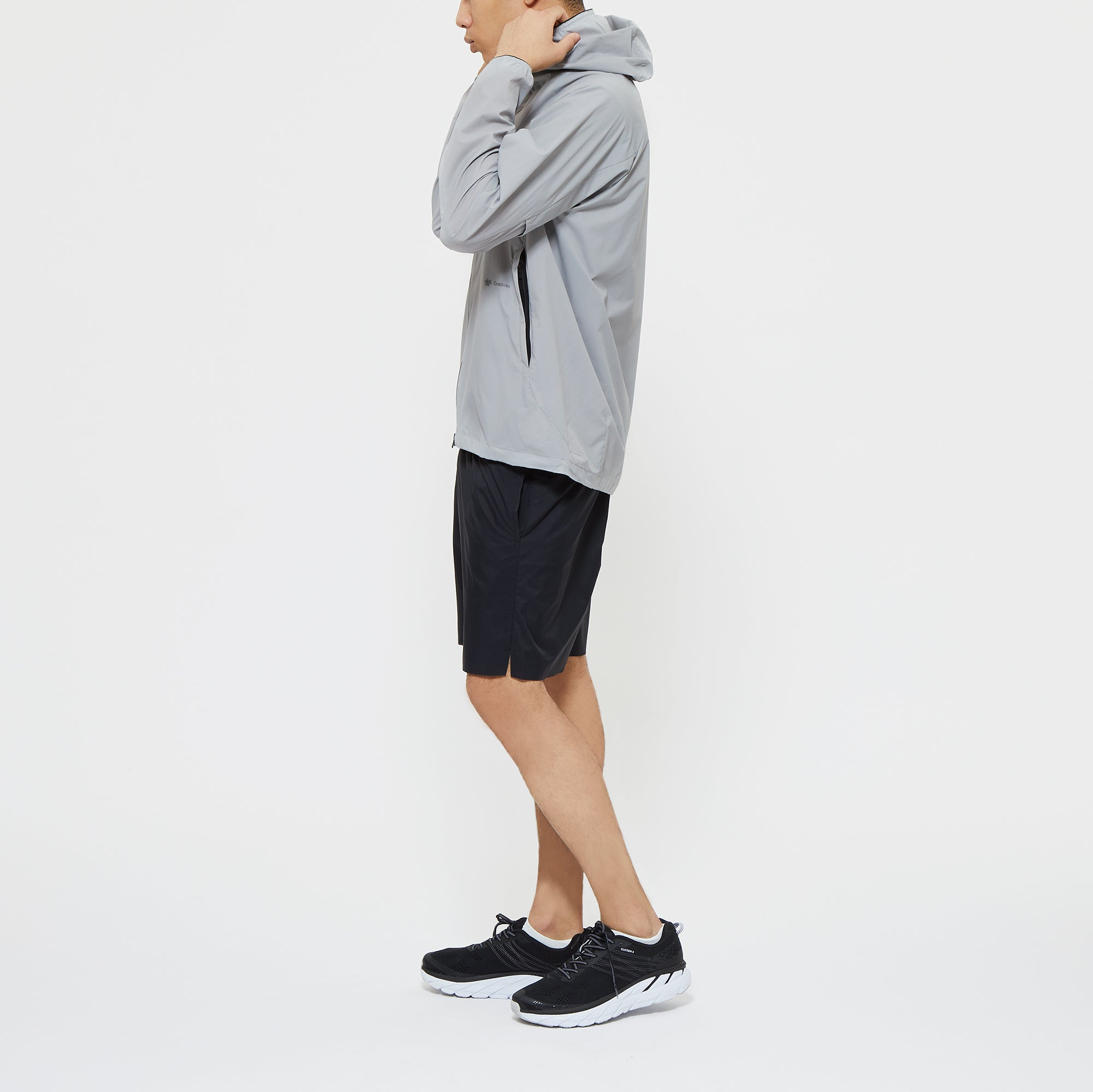 WOVEN STRETCH HOODIE - ASH GRAY