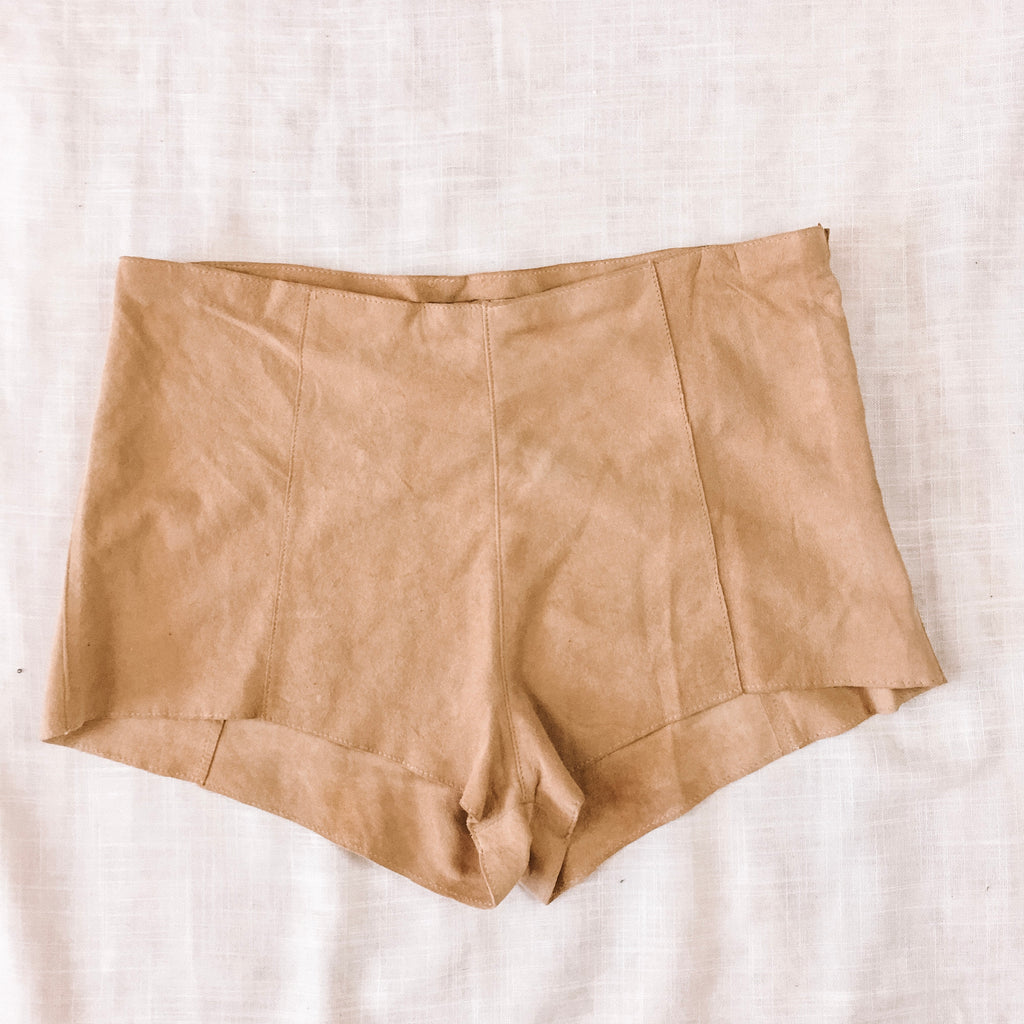 TAN SUEDE SHORTS