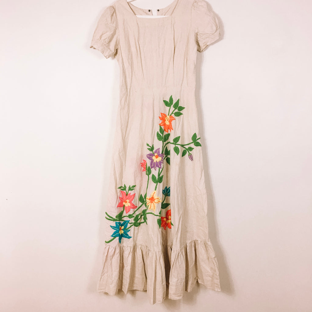 TRUE VINTAGE 70s EMBROIDERED MAXI LINEN DRESS