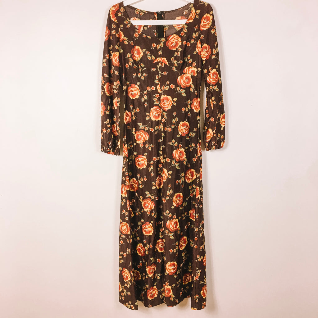 TRUE VINTAGE 70s BROWN DRESS