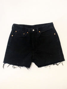 VINTAGE LEVI DENIM SHORTS - BLACK DENIM