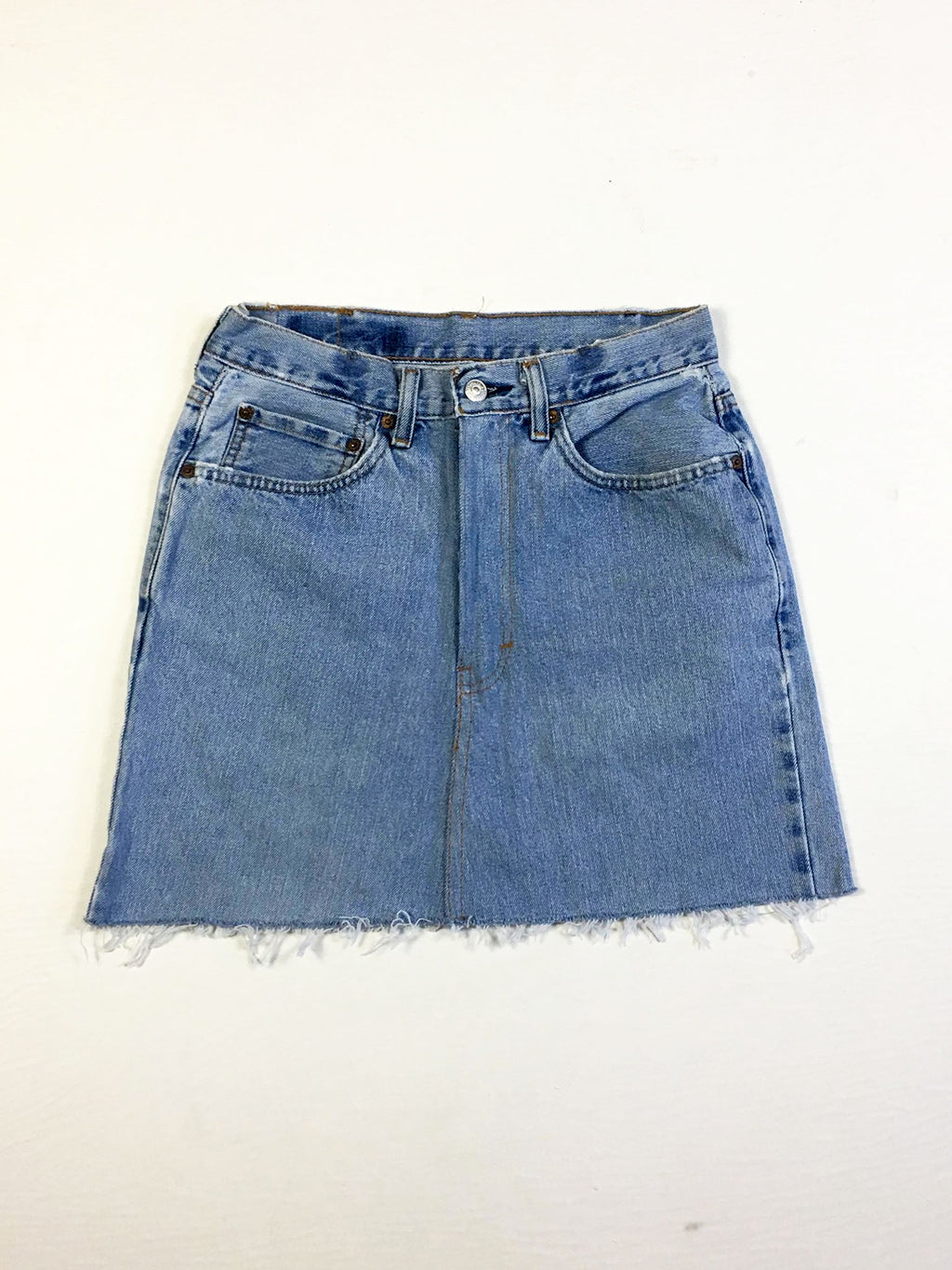 VINTAGE LEVI DENIM SKIRT - STRAIGHT STITCH - BLEACHED DENIM