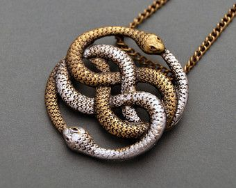 Vivid Two Snakes Pendant Necklace