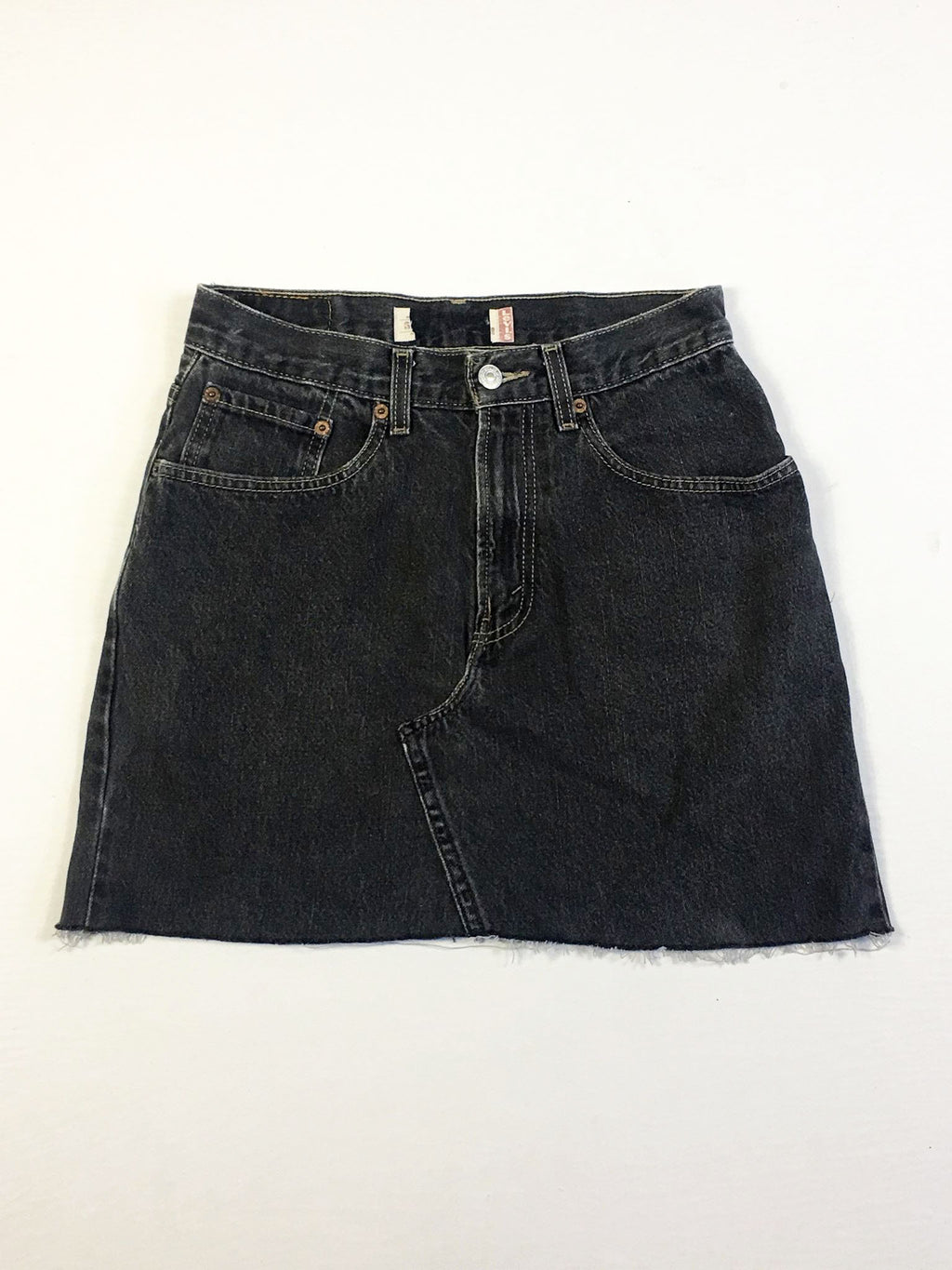 VINTAGE LEVI DENIM SKIRT - STRAIGHT STITCH - BLACK WASH DENIM