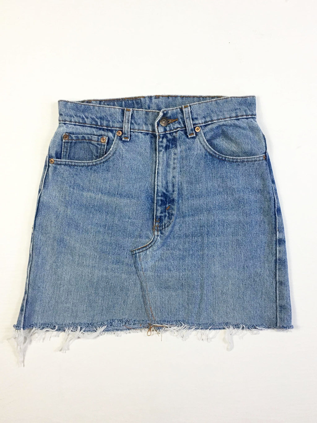 VINTAGE LEVI DENIM SKIRT - GUSSET STITCH - BLEACHED DENIM