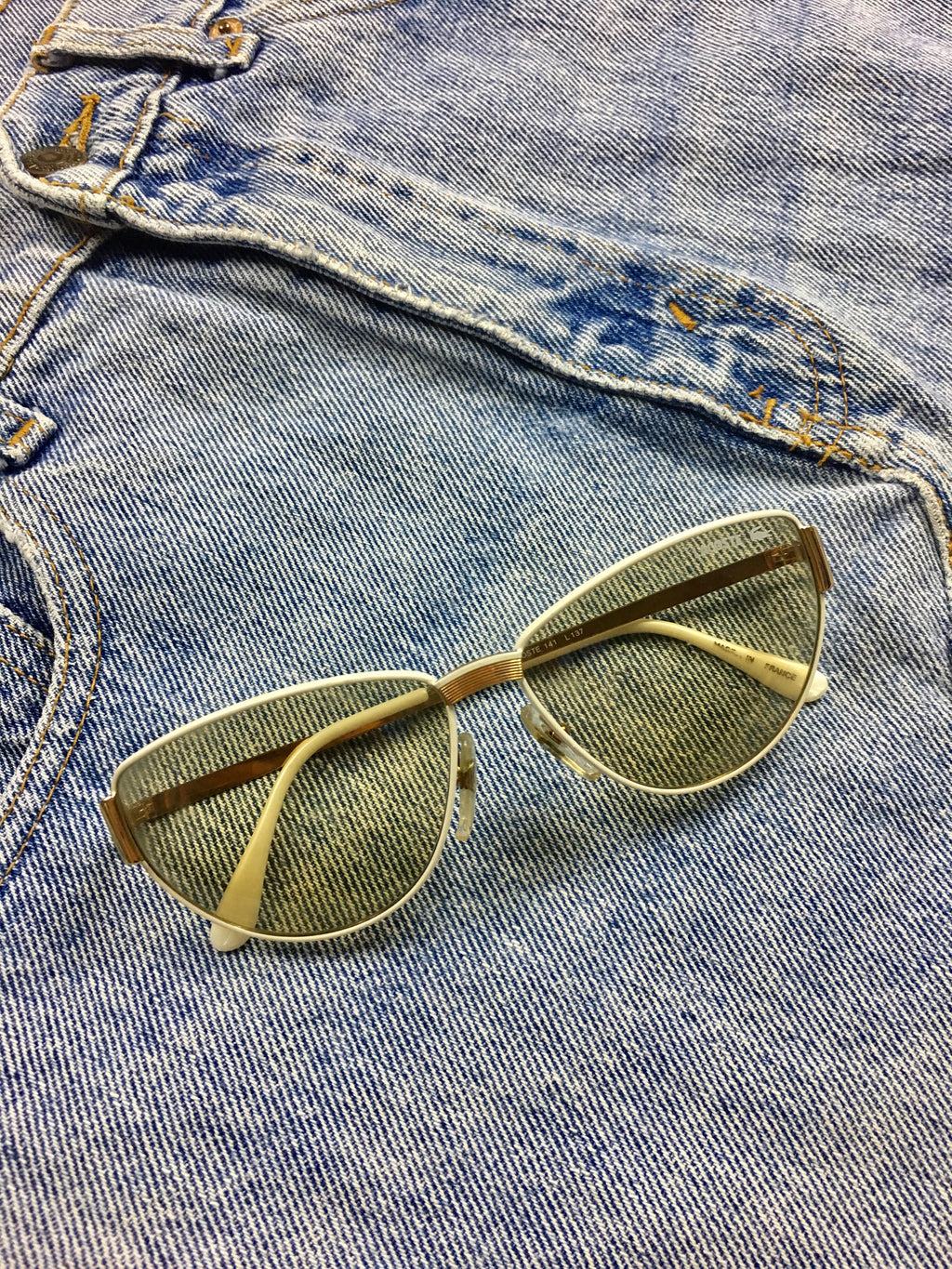 True Vintage Sunglasses - 1970s White Lacoste Sunglasses