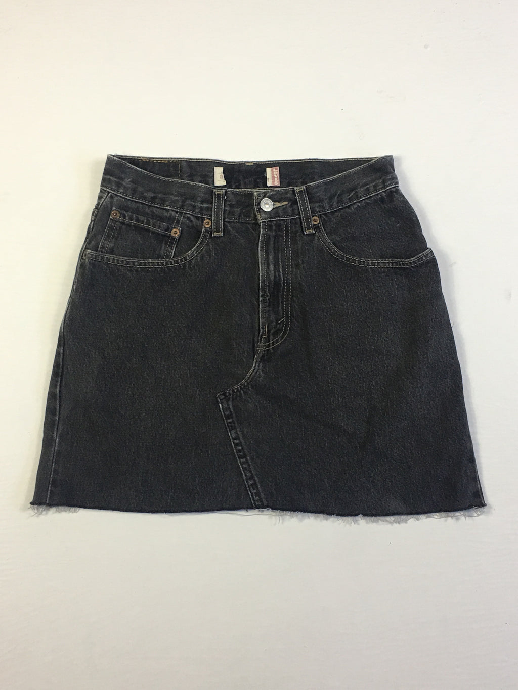 VINTAGE LEVI DENIM SKIRT - GUSSET STITCH - BLACK WASH DENIM