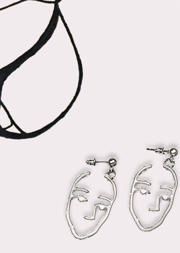 ABSTRACT - Pablo Face Earring Silver Colour