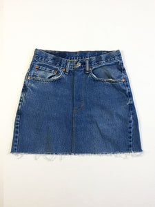 VINTAGE LEVI DENIM SKIRT - STRAIGHT STITCH - BLUE DENIM