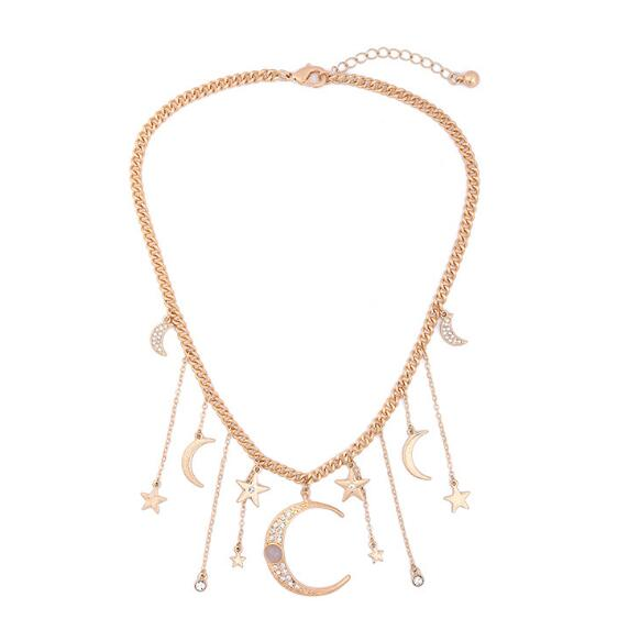 Moons Stars Tassel Rhinestone Charms Choker Necklace