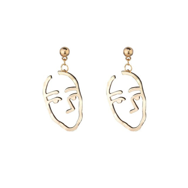 ABSTRACT - Pablo Face Earring Gold Colour