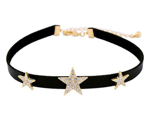 Black Choker Necklace Crystal Stars Maxi Necklaces