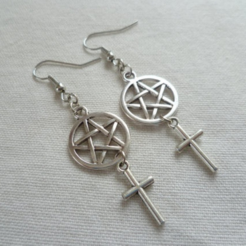 Pentagram and Cross Earrings