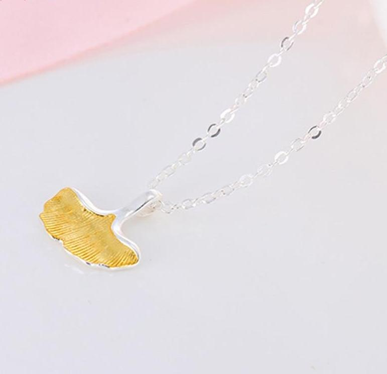 925 Sterling Silver Ginko Leaf Necklace