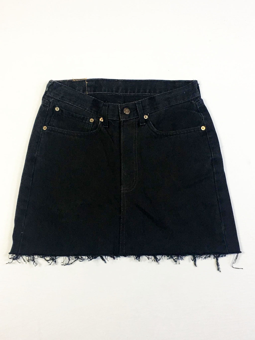 VINTAGE LEVI DENIM SKIRT - STRAIGHT STITCH - BLACK DENIM
