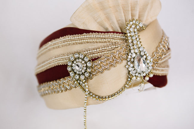 Gold & Maroon Velvet Turban with Kalgi