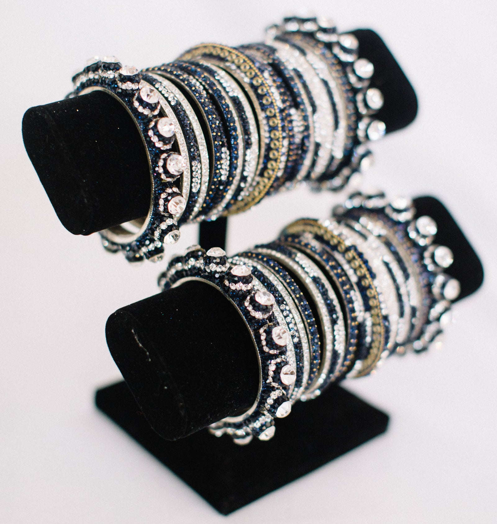 Navy, Silver, & Gold Bangle Set