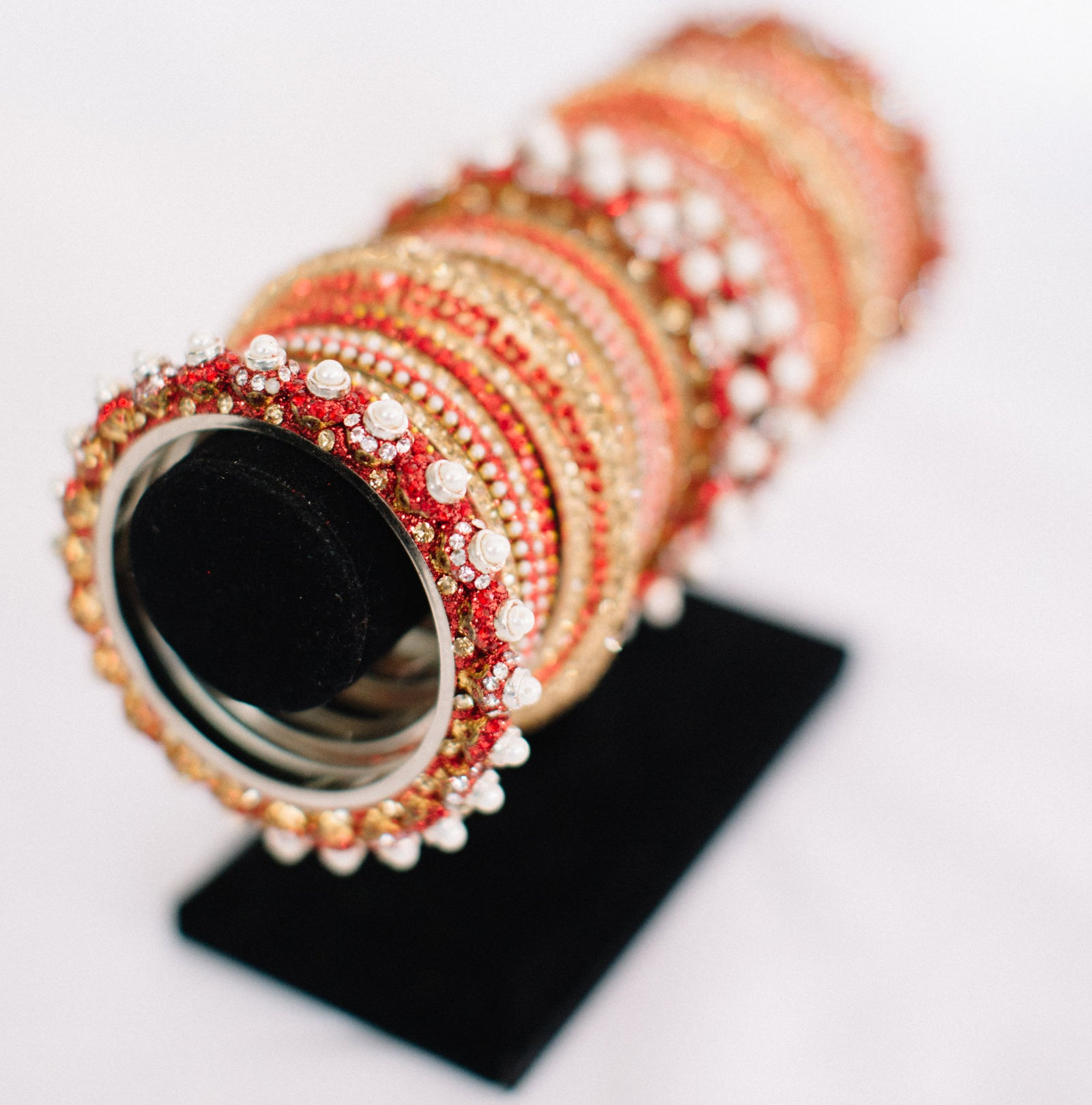 Red, Gold, and Pearl Bangle Set
