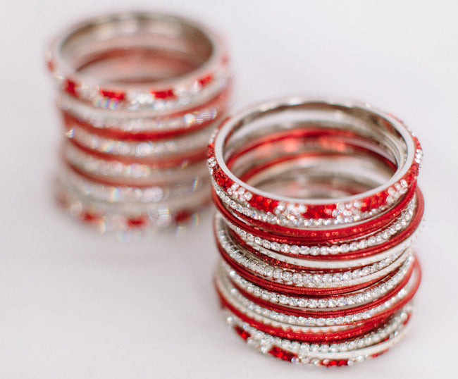 Crystal Bangles - Red & White