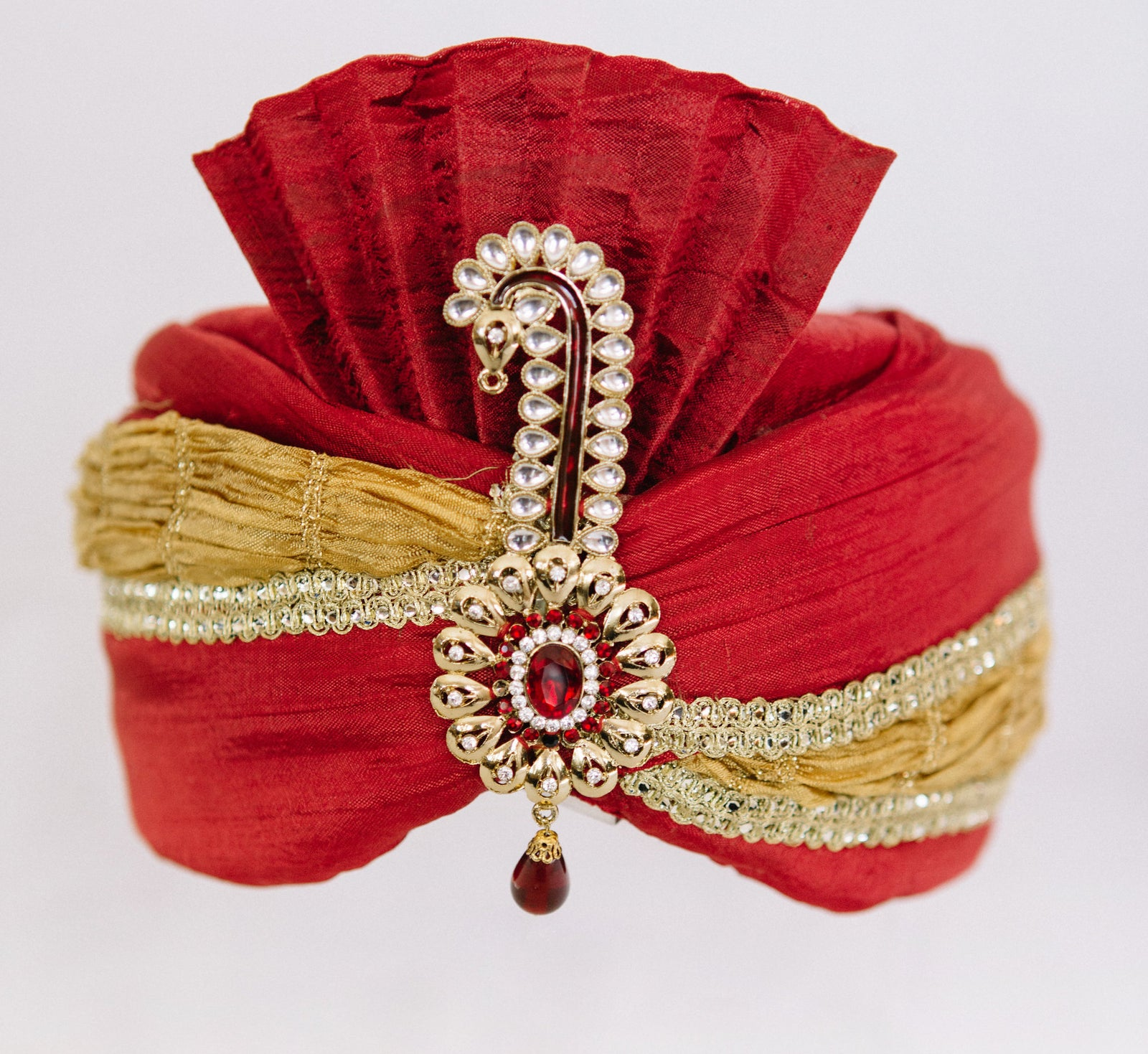 Red & Gold Turban with Kalgi