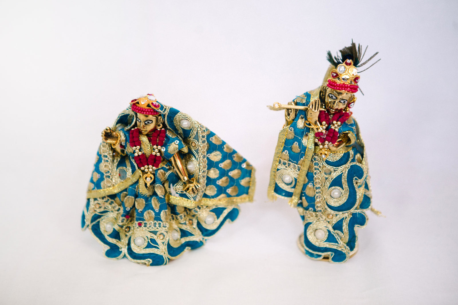 Radha & Krishna Figurines - Blue & Gold