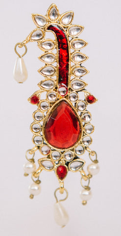 Kalgi - Kundan with Ruby Drops