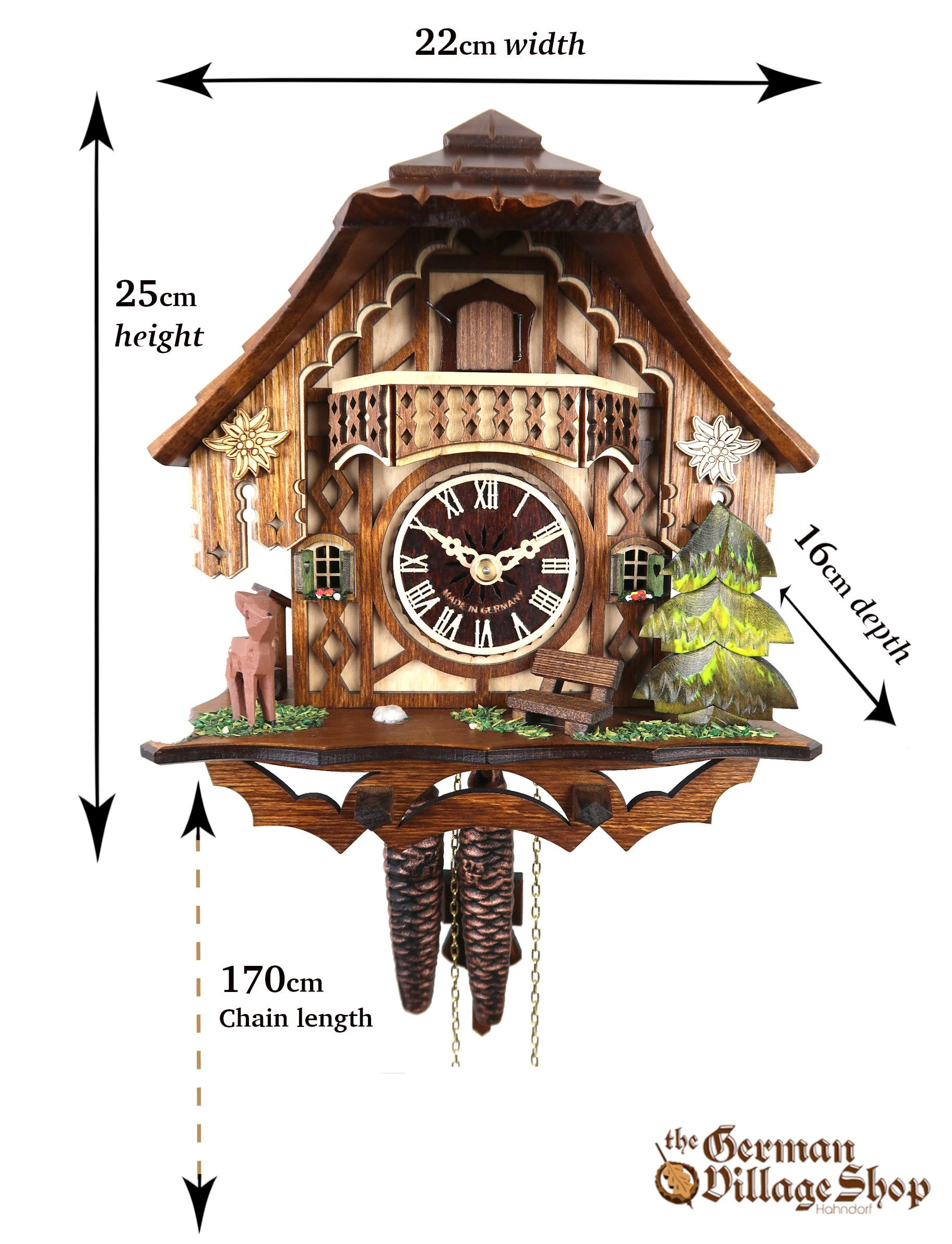 Size of German Cuckoo clock imported and sold in Australia