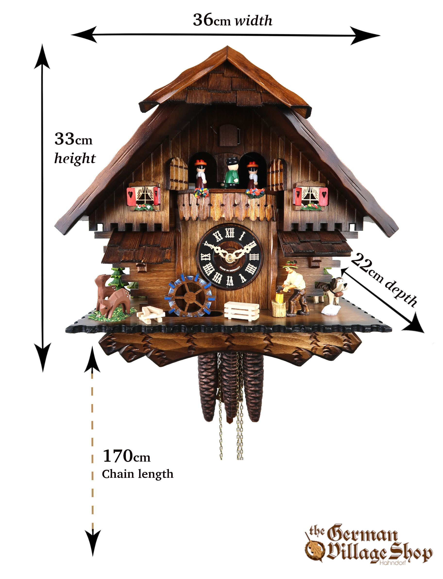Size of German Cuckoo Clock imported and for sale in Austalia