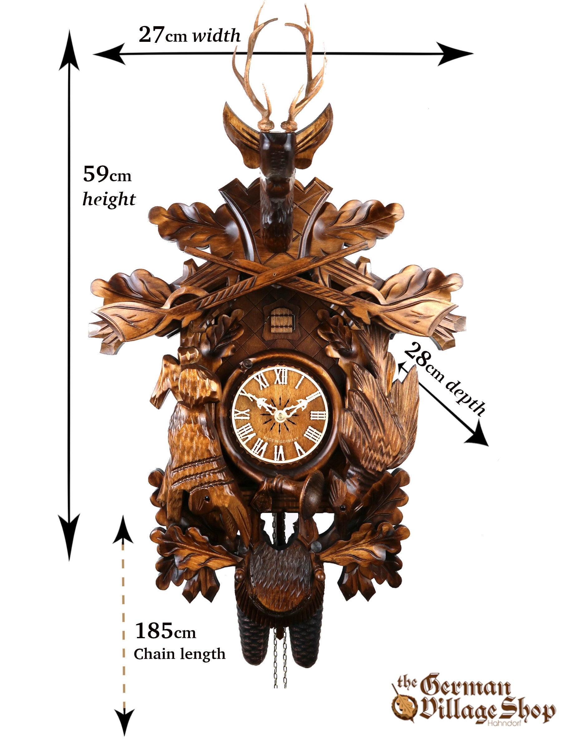 Size of the German Cuckoo clock import and for sale in Australia