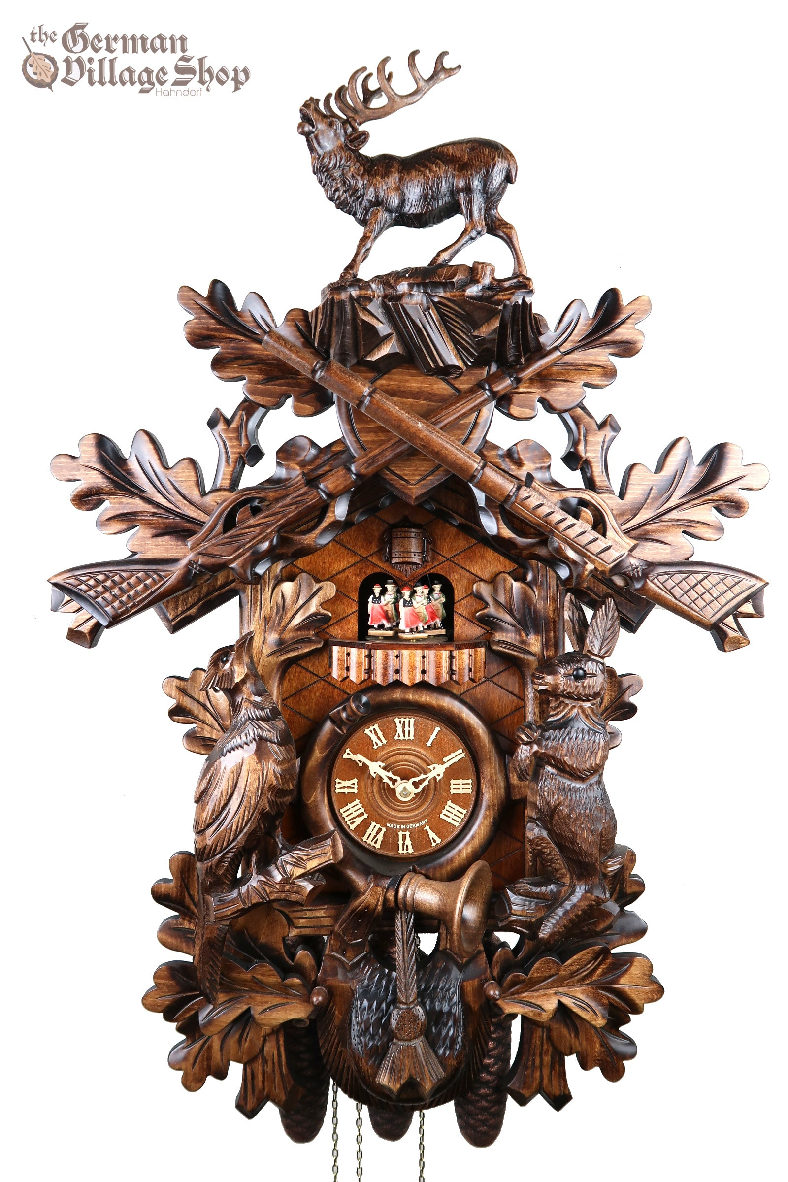 Hones cuckoo clock The Black Forest Germany Wooden Carving stag and hunting scene