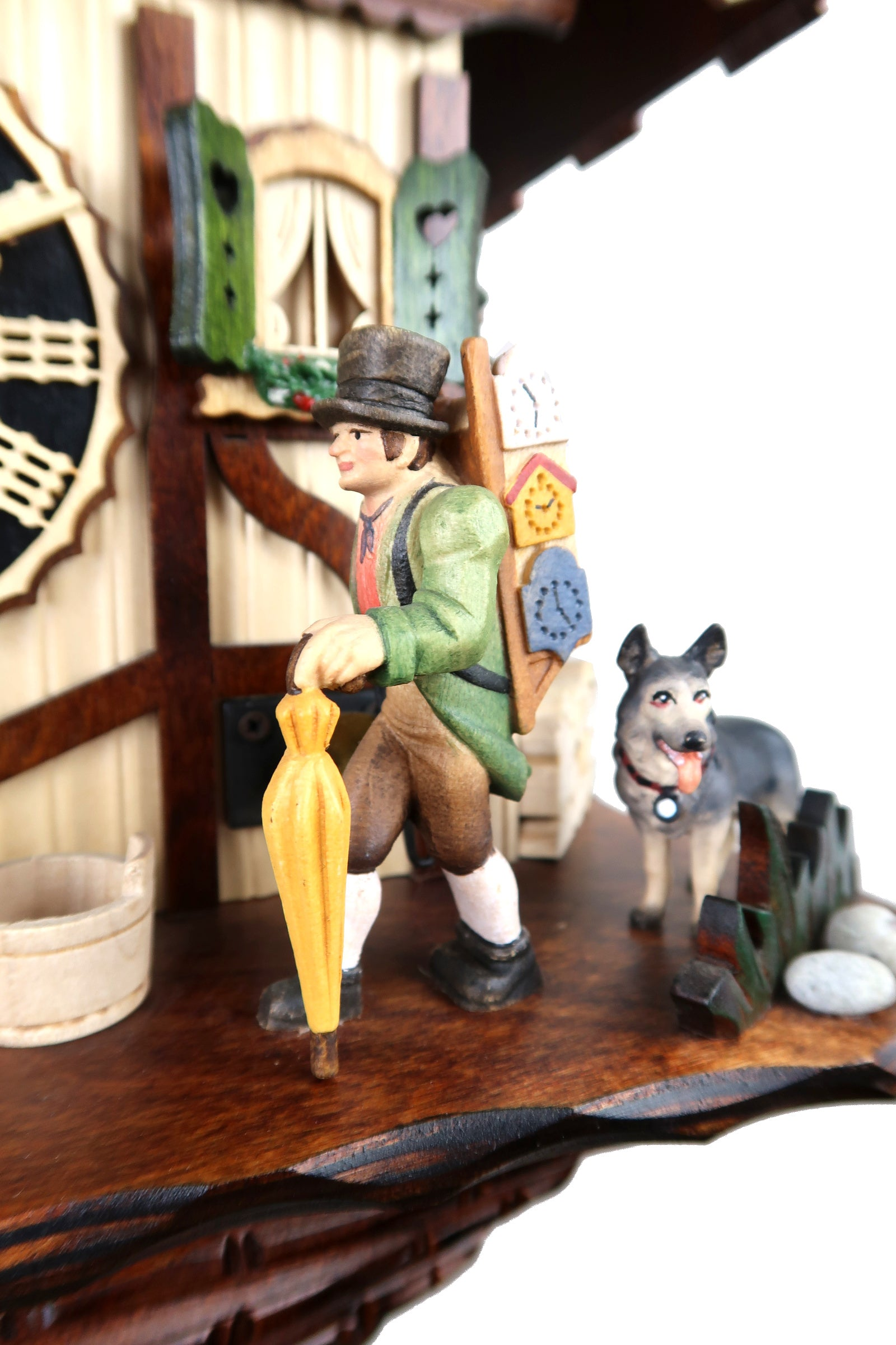 Cuckoo Clock Peddler from the Black Forest wooden carving