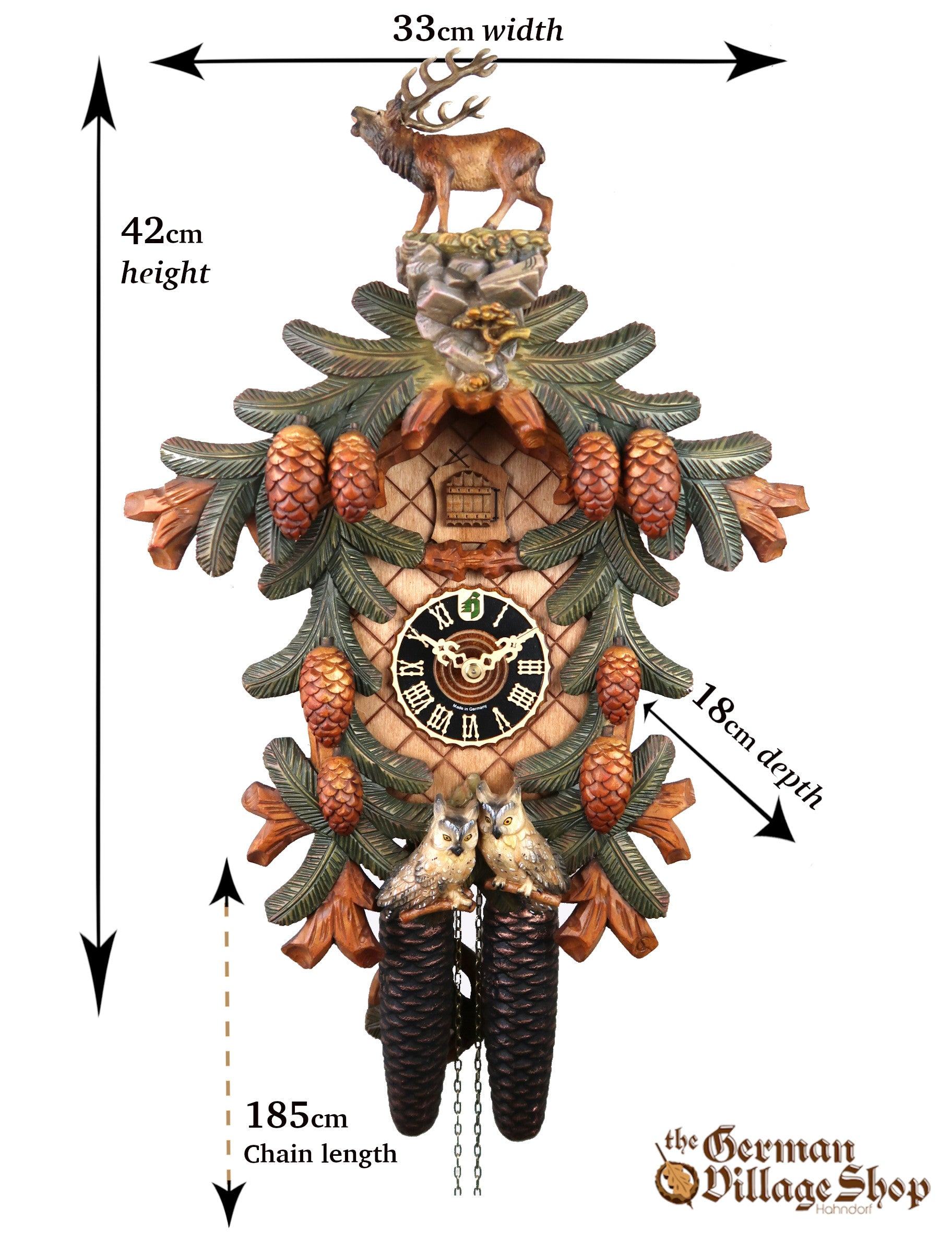 Size of a German Cuckoo Clock imported and for sale in Australia