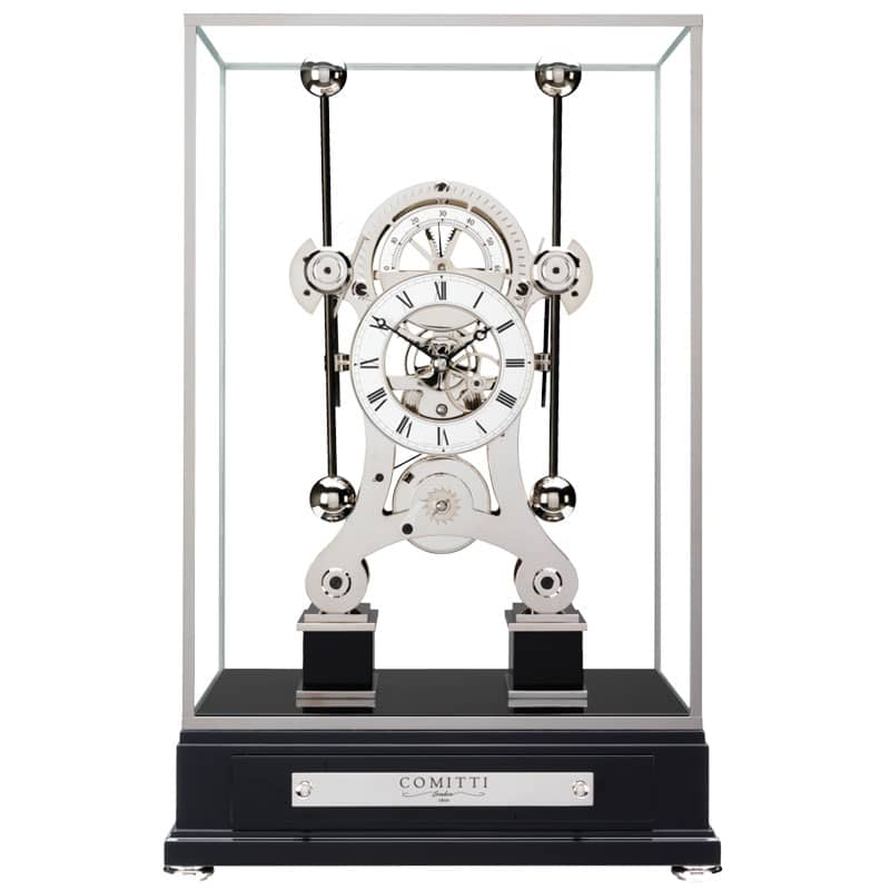 Rhodium plated navigator clock made by comitti