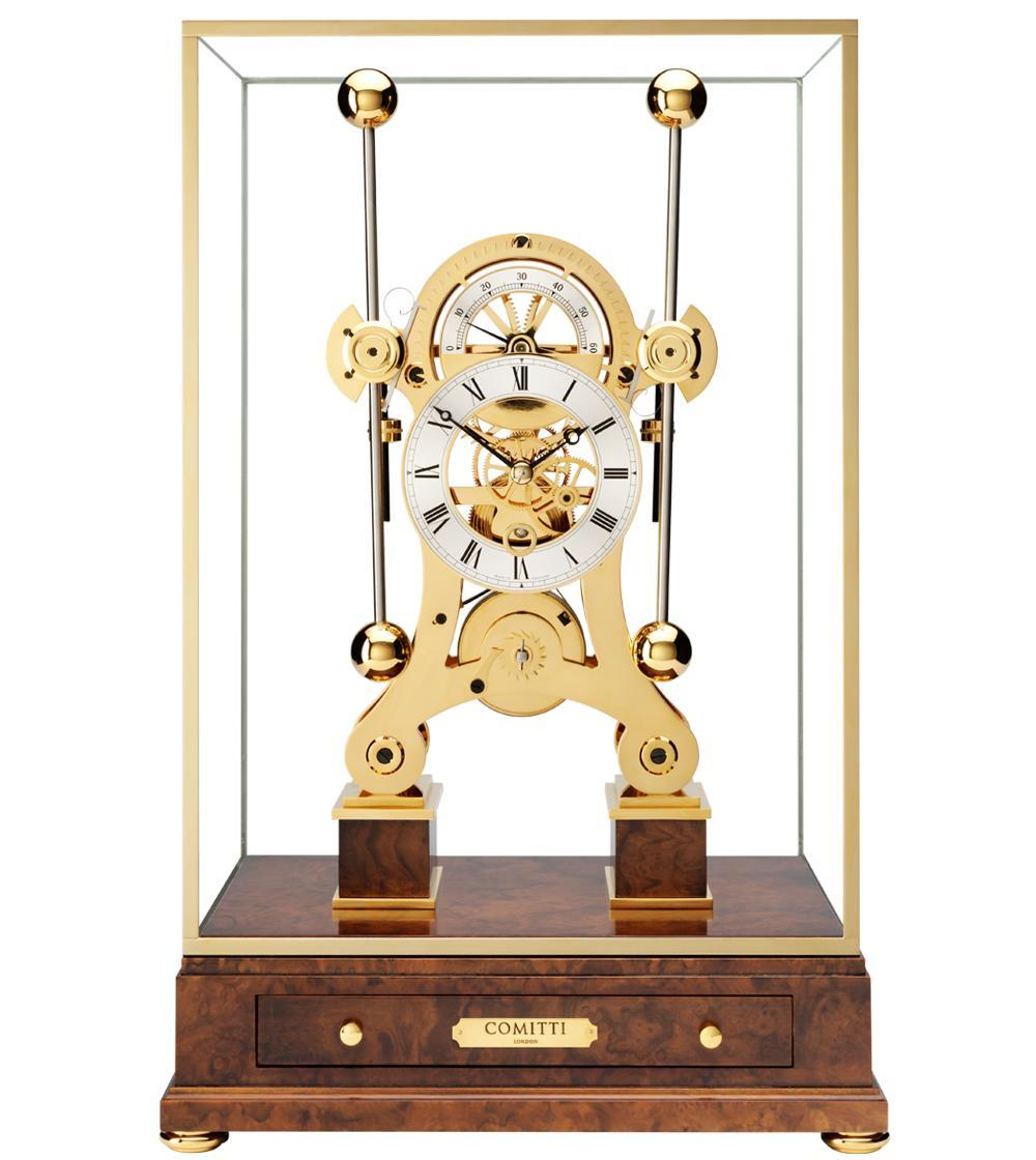 Gold plated limited edition navigator clock made by comitti