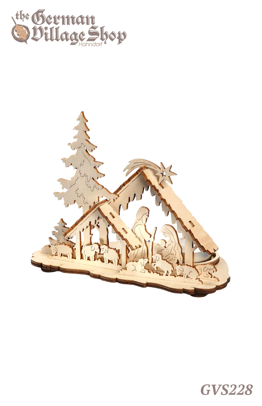 German wooden Christmas decoration, nativity scene with candle