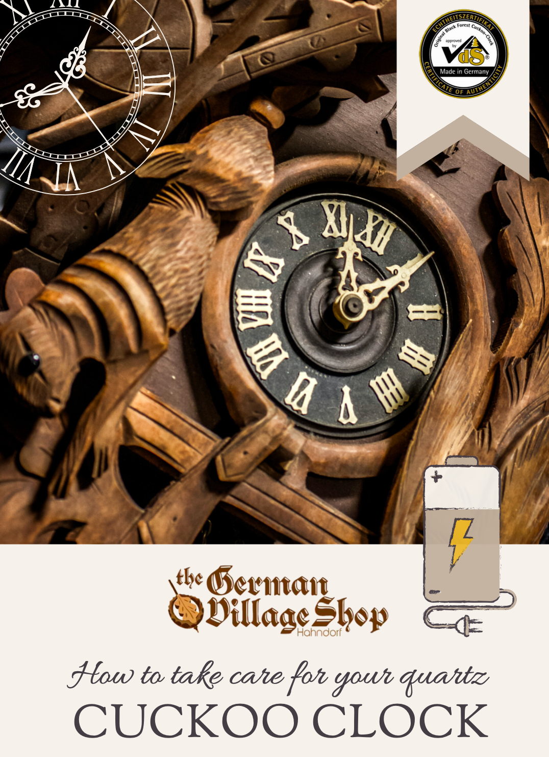 Battery operated Cuckoo Clock care PDF from The German Village Shop