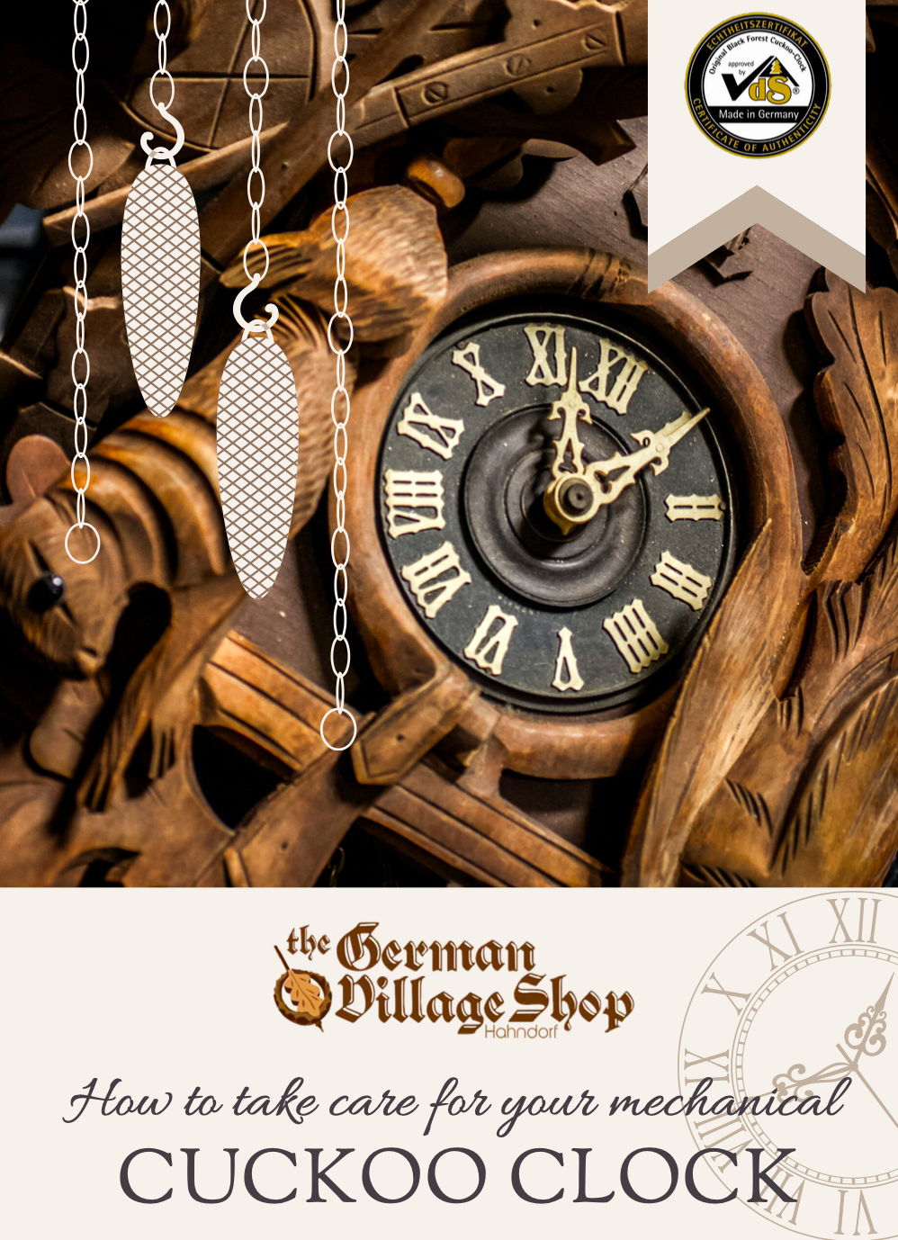 Mechanical cuckoo clock care PDF from The German Village Shop
